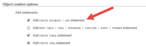 Export database 2