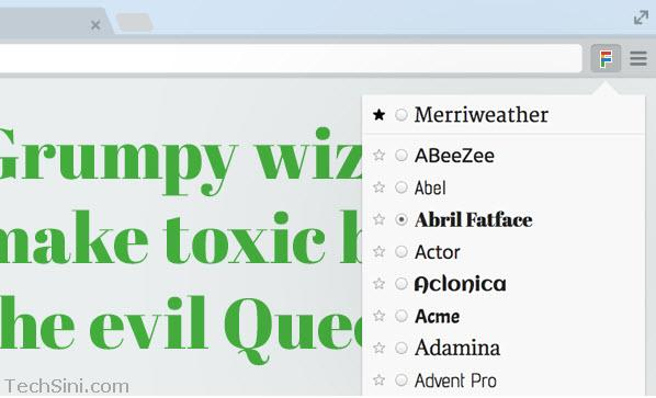 Google Font Previewer for Chrome