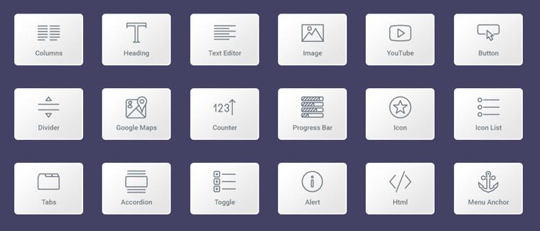 Elementor page builder widgets