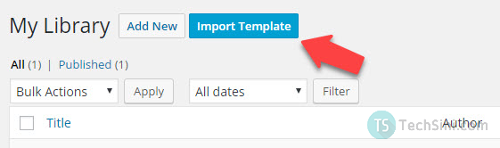 Import Elementor template