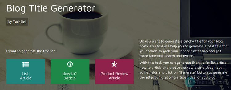 Blog Title Generator by TechSini