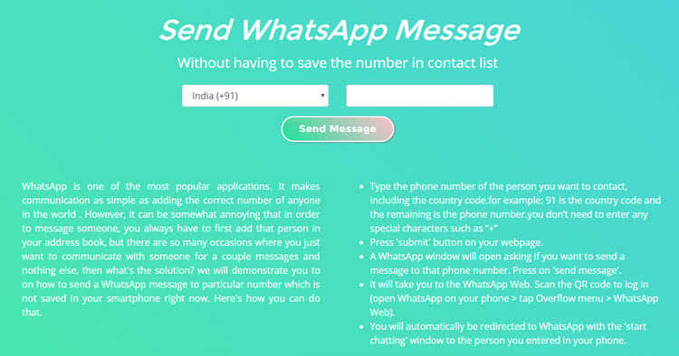 Send WhatsApp Message Without Saving Contact Number